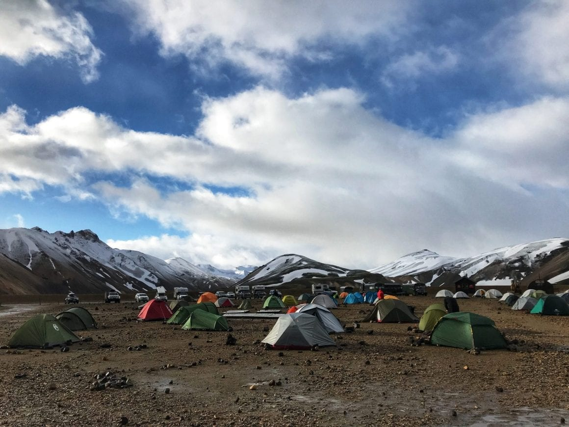 Setting up camp at Landmannalaugar, June 2018