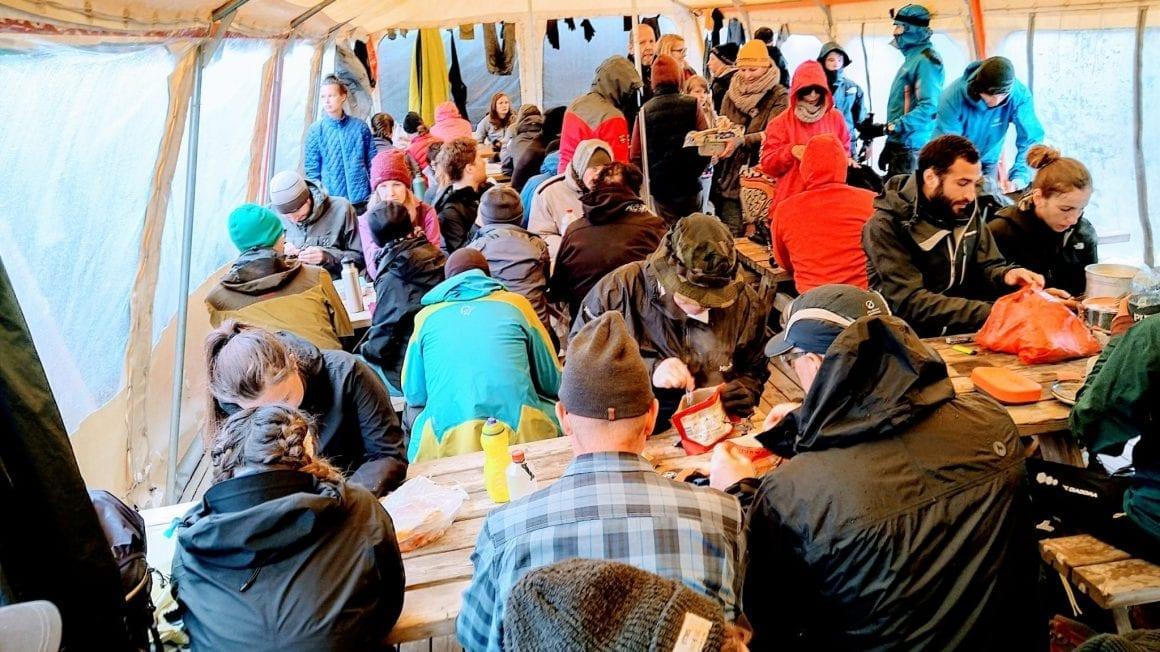 Landmannalaugar communal tent on Laugavegur trail   Photo by Thijs Waardenburg