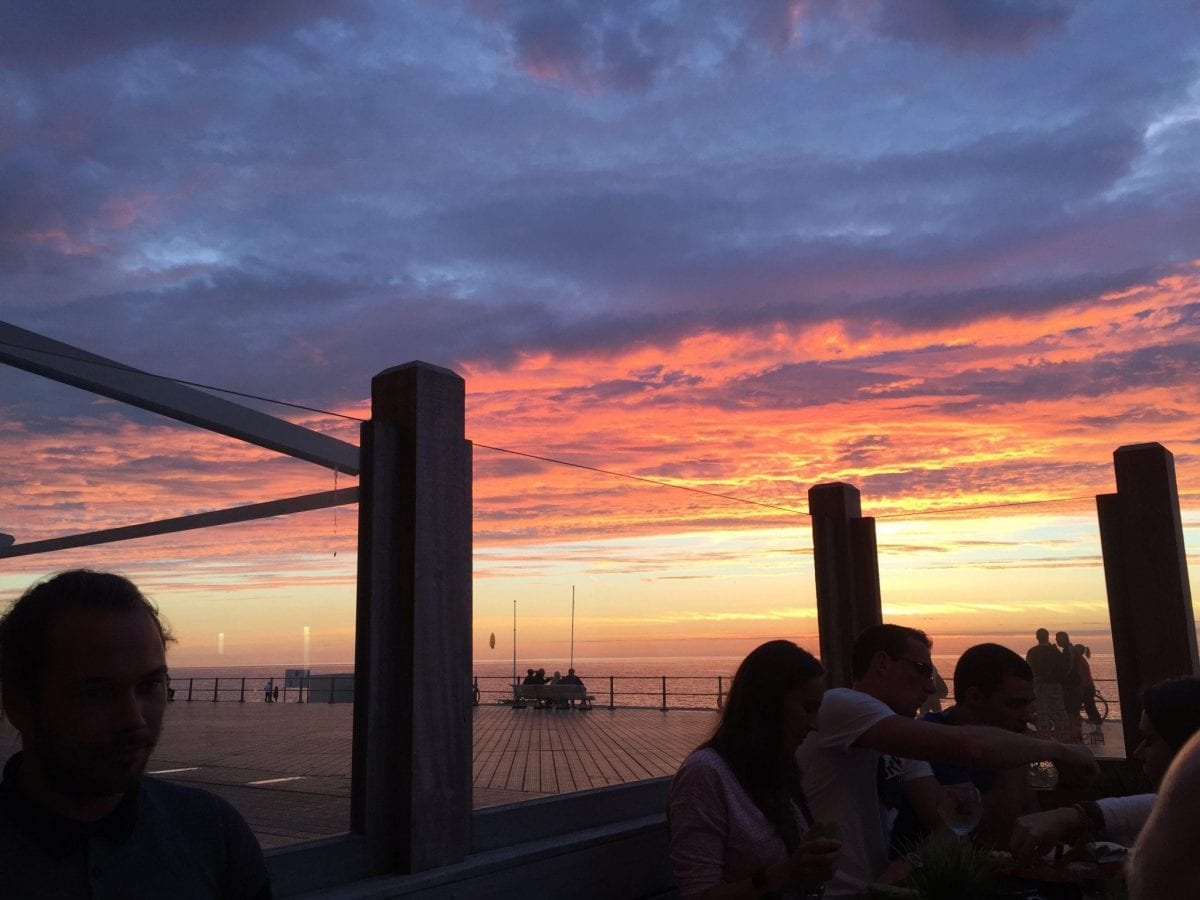 Ostend beach by sunset