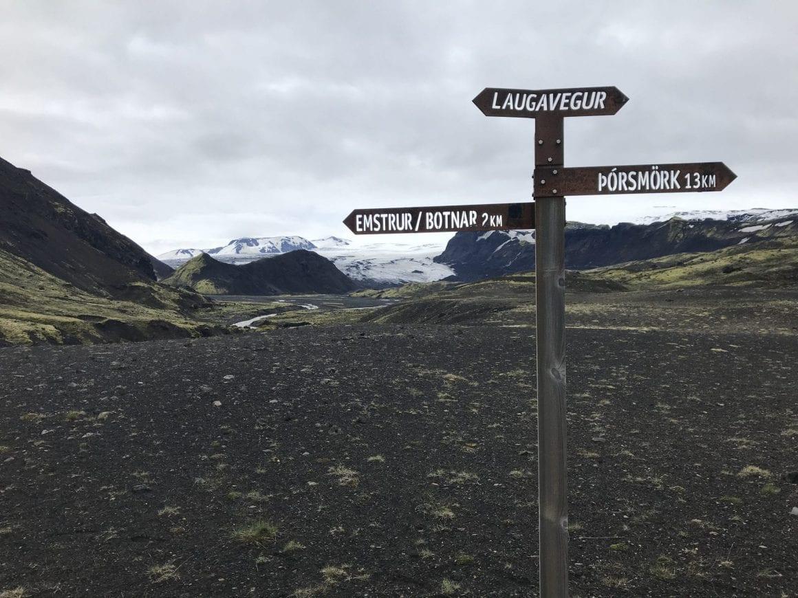 Black lava fields on Laugavegur trail