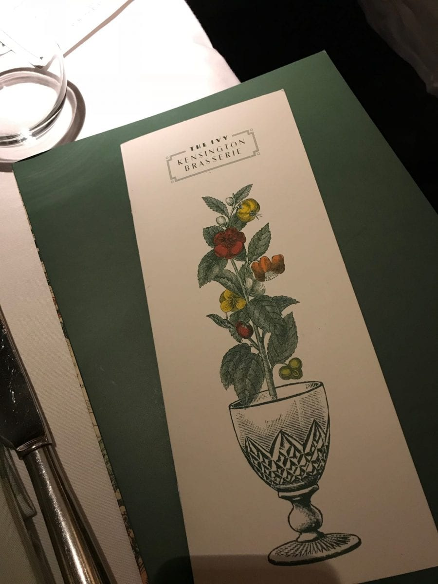 Dinner at The Ivy Kensington in London