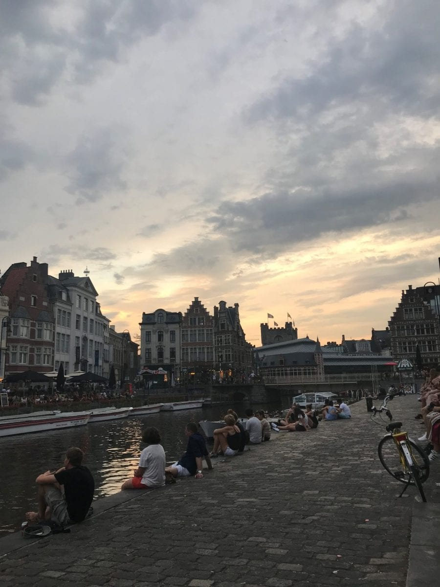 Graslei in Gent at sunset