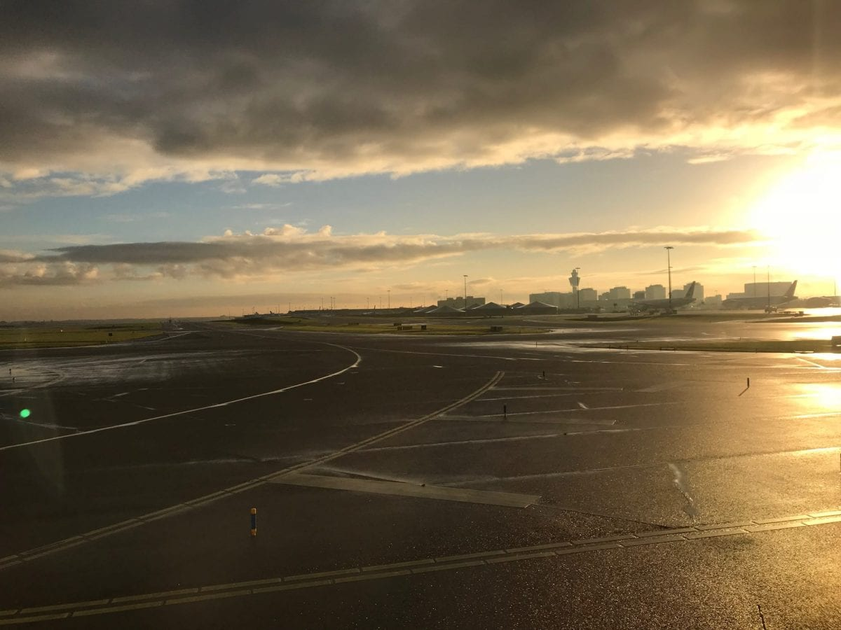 Schiphol runway with sun