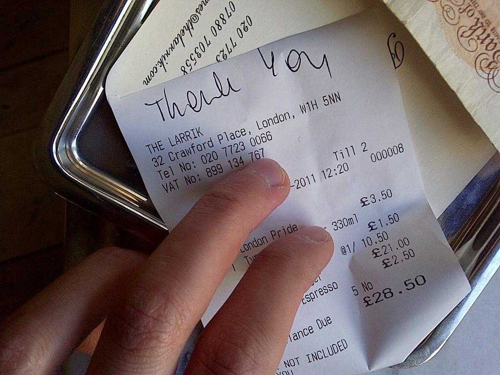 Thank you, handwritten by The Lark