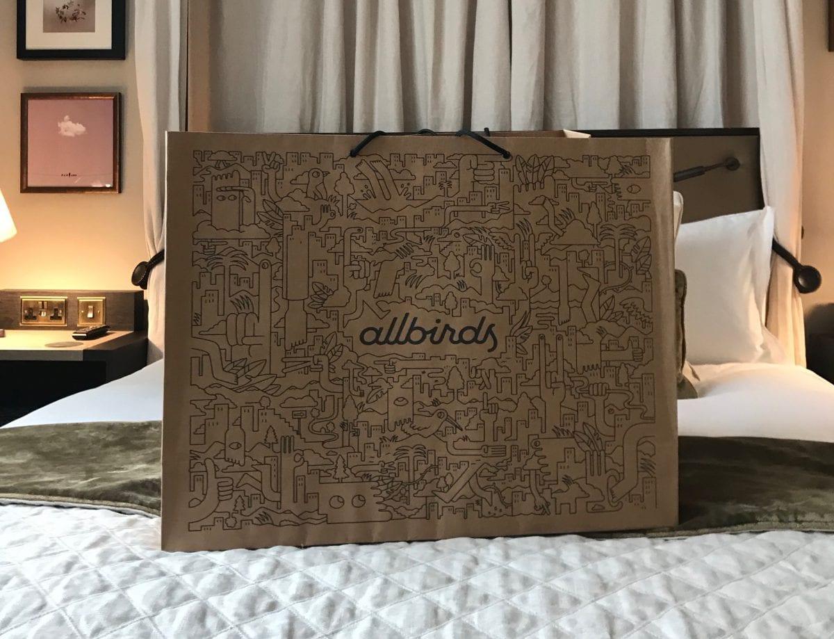 Allbirds bag in my hotel room