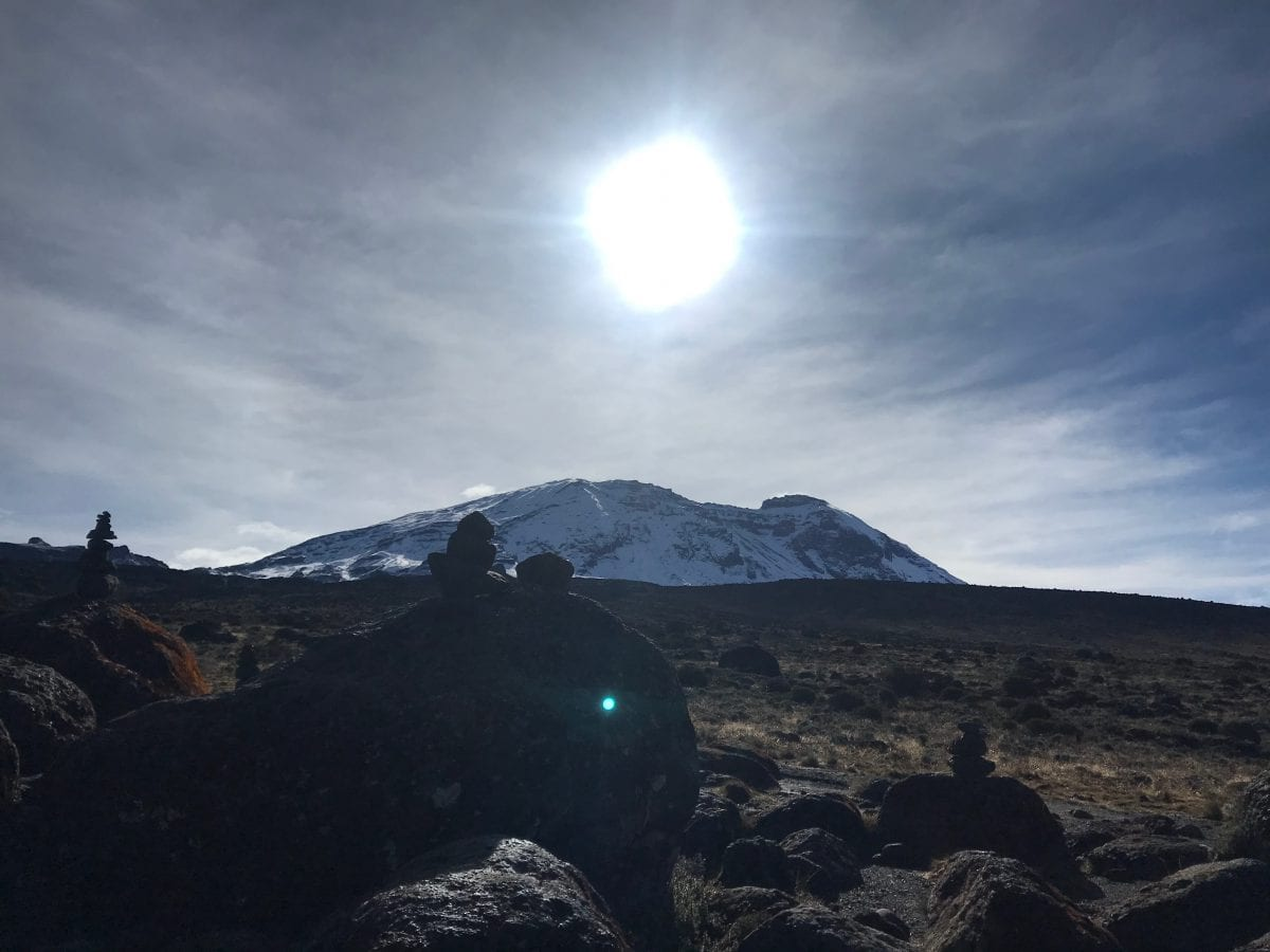Mount Kilimanjaro marked with cairns