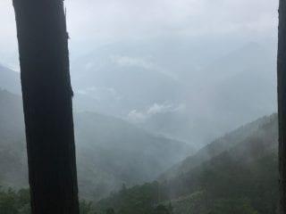 Foggy mountains on the Kohechi route