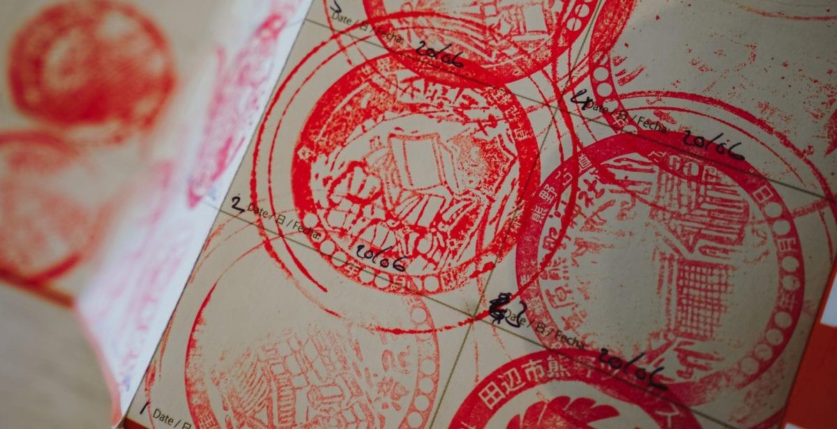 Collecting stamps on the Kumano Kodo
