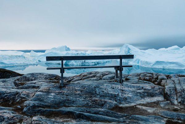 Ilulissat icebergs and bench