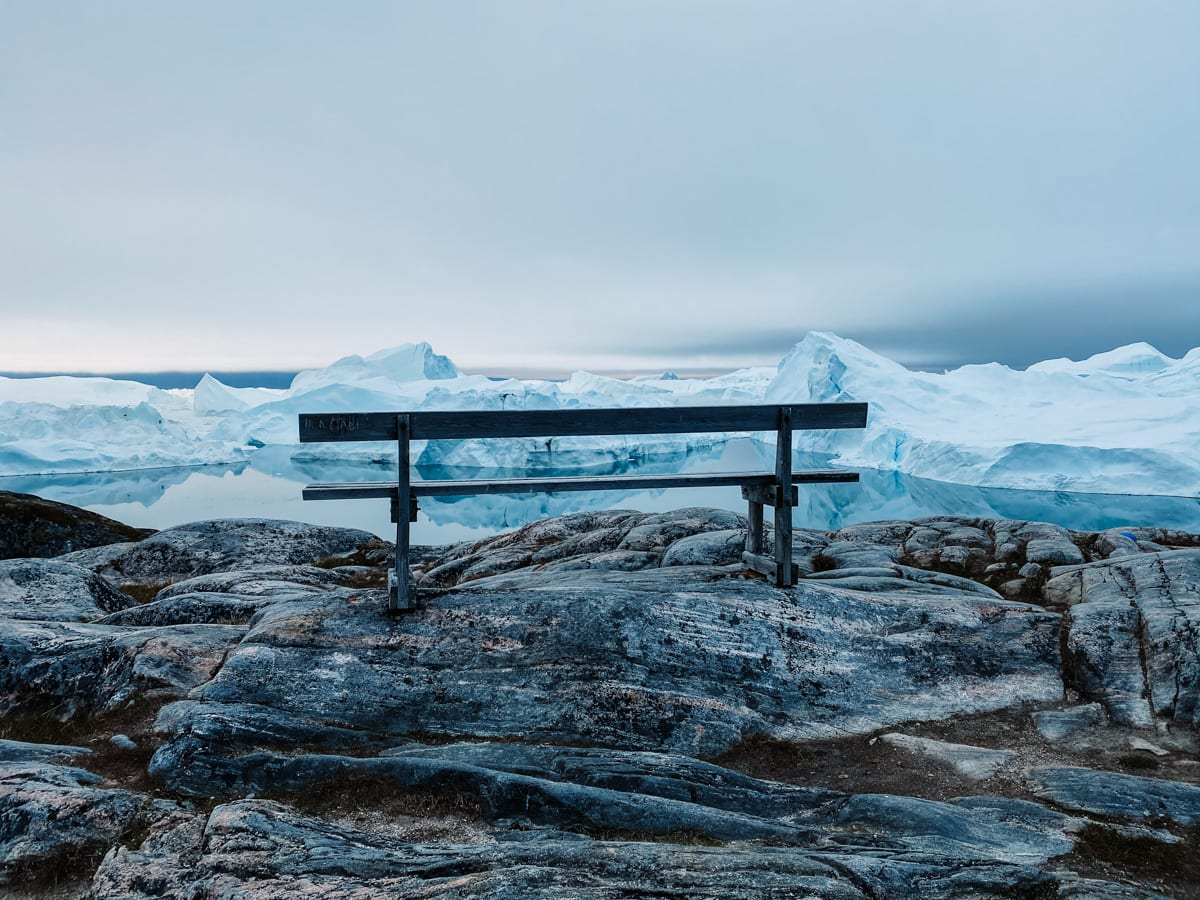 Ilulissat icebergs and bench